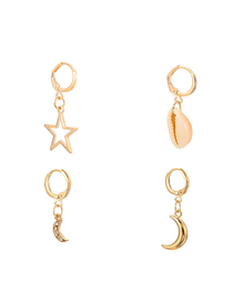 Fashion Gold Alloy Shell With Diamond Crescent Star Cross Set