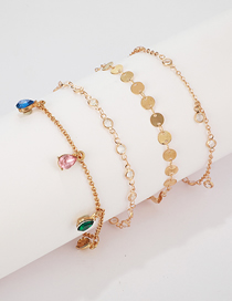 Fashion Gold Alloy Disc Rhinestone 4 Layer Anklet
