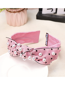 Fashion Pink Bow Nailed Pearl Headband Bow Wide Headband