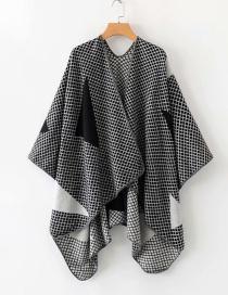 Fashion Black Houndstooth Shawl