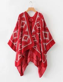Fashion Red Geometric Pattern Shawl