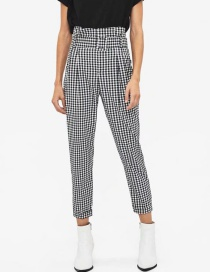 Fashion Houndstooth Houndstooth Paper Bag Pants