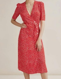 Fashion Red Printed V-neck Dress