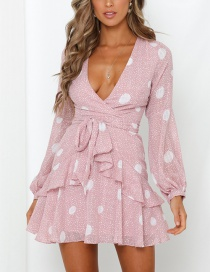 Fashion Pink Polka Dot V-neck Rope Dress