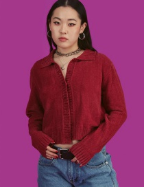 Fashion Jujube Red Knitted Coat