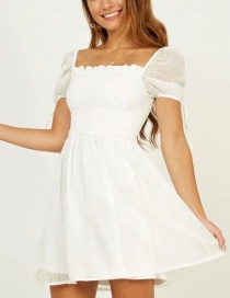 Fashion White Snowflake Jacquard Dress