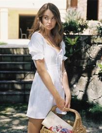Fashion White Ruffled Tether Dress