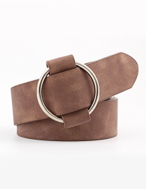 Fashion Coffee Needle-free Round Buckle Wide Leather Belt