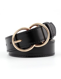 Fashion Black Double Ring Pin Buckle Belt