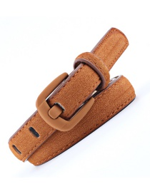 Fashion Camel Wide Needle Spray Buckle Rich Velvet Leather Belt