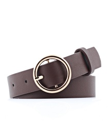 Fashion Brown Round Faux Leather Belt