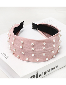 Fashion Pink Nailed Pearl Headband Nail Pearl Solid Color Wide-brimmed Headband
