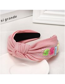 Fashion Pink Letter Rhinestone Headband Wide-brimmed Temperament Solid Color Letter Water Drill Hoop