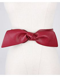 Fashion Red Elasticated Bow Elastic Wide Belt