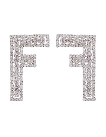 Fashion F Alloy Diamond Letter Lip Stud Earrings