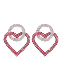 Fashion Red And White Alloy Diamond Round Love Earrings