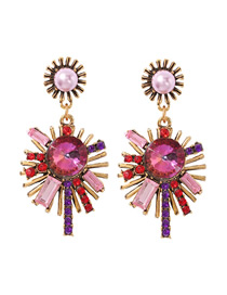 Fashion Color Alloy Studded Sun Earrings