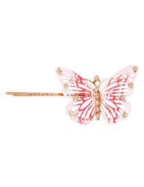 Fashion Openwork Brick Red Alloy Diamond Butterfly Hairpin