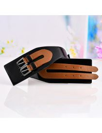 Fashion Z112 Black Brown Faux Leather Openwork Elastic Belt
