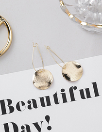 Fashion Round Gold Metal Brushed Textured Bump Geometric Earrings