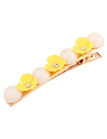 Fashion Yellow Flower Pearl Hair Clip