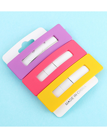 Fashion Purple + Red + Yellow Hollow Rectangle Hairpin