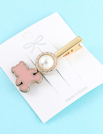 Fashion Pink Bear Hairpin