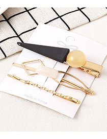 Fashion Black Triangle Scrub Spray Hair Clip Set