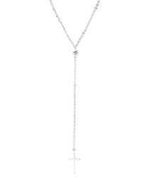 Fashion Platinum Zircon Chain - Cross