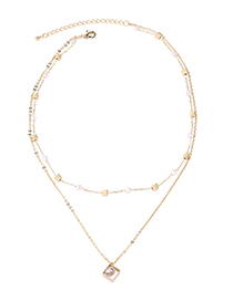 Fashion 14k Gold Boutique Chain - Square Crystal