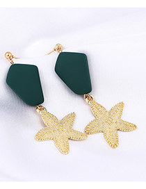 Green Starfish Earrings