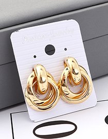 Fashion Gold Cross Circle Earrings