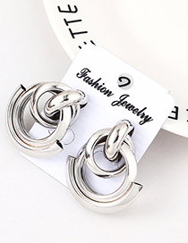 Fashion White K Double Row Of Small Earrings