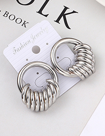 Fashion White K Cylinder Hollow Earrings