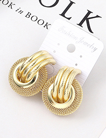 Fashion Kc Gold Grid Textured Earrings