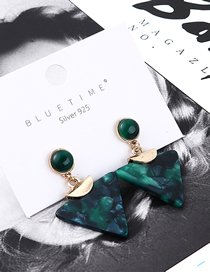 Fashion Green Alloy Acrylic Inverted Triangle Earrings