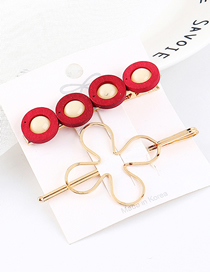 Fashion Red Alloy Wood Ring Openwork Flower Hair Clip Set