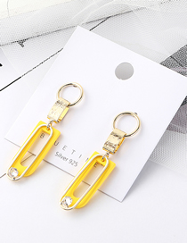 Fashion Yellow Plated Gold U-letter S925 Silver Pin Stud Earrings