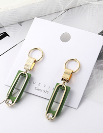 Fashion Green Plated Gold U-letter S925 Silver Pin Stud Earrings