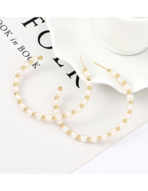 Fashion Gold Plated Gold Pierced Pearl Circle S925 Silver Needle Stud Earrings