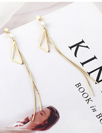 Fashion Gold Plated Gold Asymmetric Triangle Fringe S925 Silver Needle Earrings