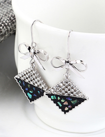 Fashion Platinum + Black Plated Gold Square Bow S925 Silver Needle Earrings