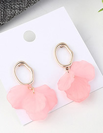 Fashion Pink Small Lotus Leaf Earrings