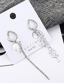 Fashion Platinum Plated Gold Pearl Tassel S925 Silver Needle Earrings
