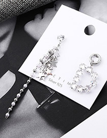 Fashion Platinum Plated Gold Asymmetric Star S925 Silver Needle Earrings