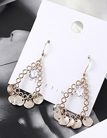 Fashion Champagne Gold Plated Gold Circle Cutout Earrings