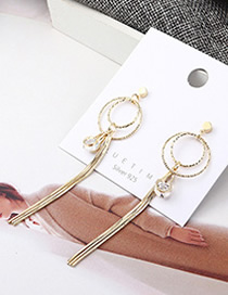 Fashion 14k Gold Plated Gold Double Circle Openwork Fringe S925 Silver Needle Earrings