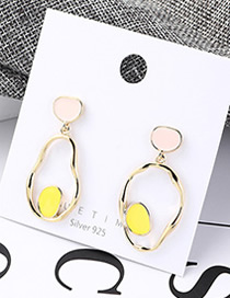 Fashion Powder + Yellow Plated Gold Gourd Cutout S925 Silver Needle Earrings