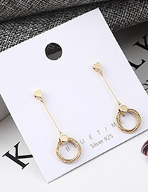 Fashion Gold Plated Gold Heart Care Tassel S925 Silver Needle Earrings