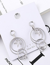 Fashion Platinum Plated Gold Circle Five-star S925 Silver Needle Earrings